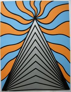 Nicholas Krushenick (1929-1999) Geometr Kompos Orig Serigraphie signiert 1972