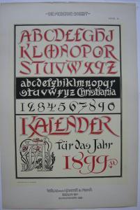 Schriftvorlage Kalender 1899 Orig Lithografie Fr. Ad. Becker Jugendstil 1900