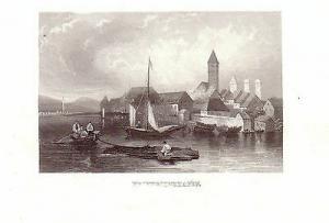 Friedrichshafen Stahlstich Ansicht vom Bodensee aus 1850