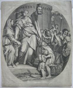 Gerard Audran (1640-1703) Die Trophäe Orig Kupferstich 1700