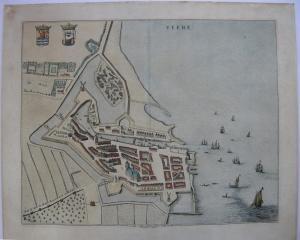 Veere Zeeland Bird's Eye-View kolor Orig Kupferstich Bleau 1662 Niederlande