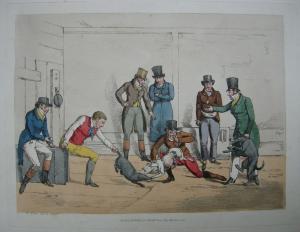 Hundekampf  England Orig Farblithographie Alken 1820 London