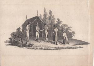 Ballspiel Boulle Orig Radierung 1800 Sport A. Le Grand (1765-1815)