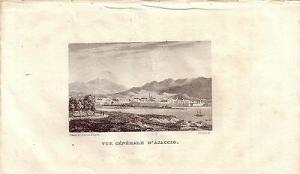 Korsika Corse France Vue générale d'Ajaccio Stahlstich Gravure de fer 1850