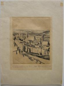 Otto Geigenberger (1881-1946) Wasserburg Inn Orig. Radierung 1920 signiert
