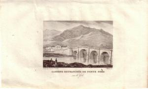 Korsika Corse France Caserne Ponte Noro sur Golo Stahlstich Gravure de fer 1850