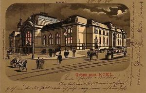 Ak Kiel Bahnhof Schleswig-Holstein Litho gel 1900 Mondscheinkarte
