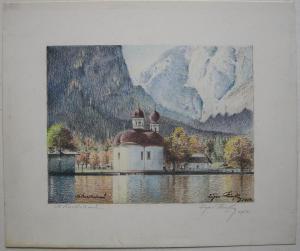 St. Bartholmä Königssee Berchtesgaden Orig Farblithografie Eugen Heinfling 1954