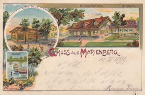 AK Marienberg Restauration Schwahn Farblitho Sachsen Erzgebirgskreis gel 1899