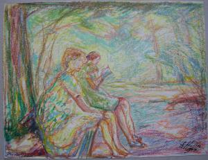 Eugen Haller (1899-1972) In der Sonne Orig. Wachskreide-Zeichnung 1964 signiert
