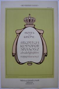 Hotel zur Krone Schritvorlage Orig Lithografie F. Schweinmanns Jugendstil 1900