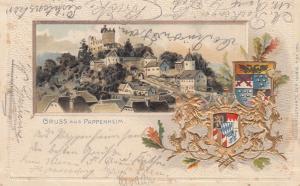 Ak Pappenheim Ansicht geprägte Wappen Litho Mittelfranken Altmühltal gel 1900