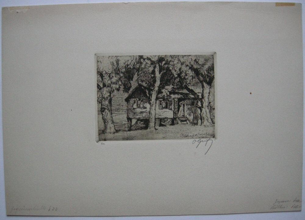 Oskar Graf (1873-1957) Zigeunerhütte Orig Radierung signiert 1910 0