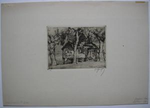 Oskar Graf (1873-1957) Zigeunerhütte Orig Radierung signiert 1910