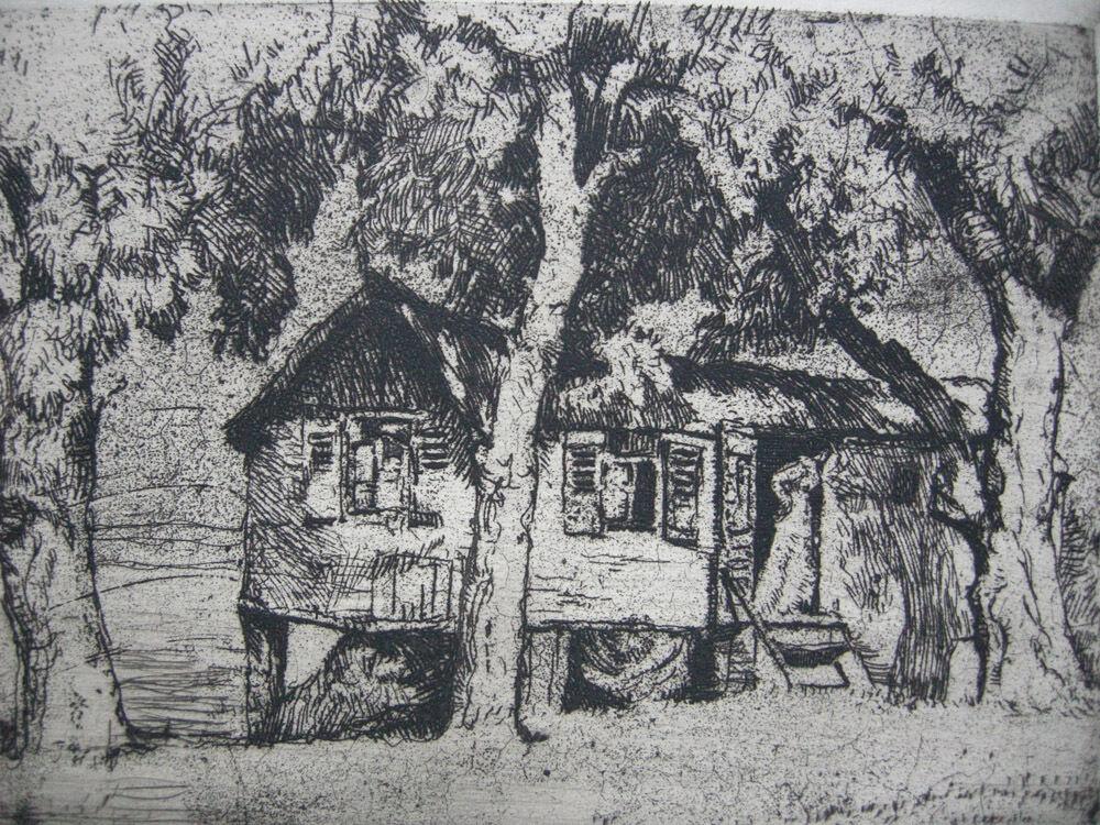 Oskar Graf (1873-1957) Zigeunerhütte Orig Radierung signiert 1910 1