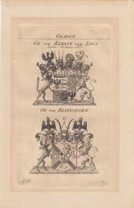 Wappen Grafen Kleist vom Loss Klingsporn Kupferstich um 1828 Ostpreussen