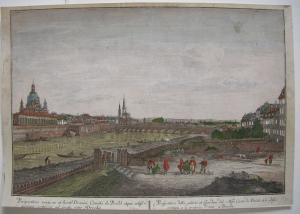 Optical view Guckkastenblatt Dresden Probst Canaletto Orig Kupferstich 1750