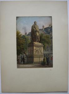 Frankfurt Goethe Monument altkolor Stahlstich Buhl Dielmann 1840 Jügel Hessen