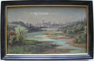 Michael Leimgrub (1880- ?) München Gesamtansicht Isarauen Öl auf Platte signiert