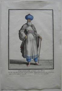 Emir Fechrredin Drusischer Prinz altkolor. Orig. Kupferstich bei Bonnart 1700