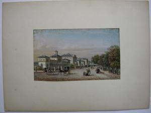 Frankfurt Taunus-Eisenbahn Bahnhof altkolor Stahlstich Rudolf 1840 Jügel Hessen