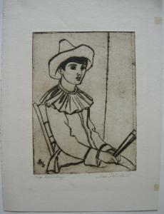 Max Hauschild (1907-1961) Pierrot Orig. Radierung 1950 signiert