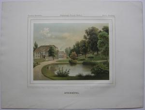 Rittergut Blumberg Szczecin Polen Orig Farblithografie 1860 Westpommern