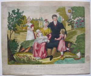 Le Desir accompli Vollendetes Familienglück kolor. Orig Kupferstich 1780