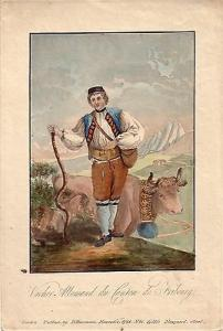 Schweiz Hirte Tracht Fribourg handkolorierter Kupferstich 1792 Kostüme