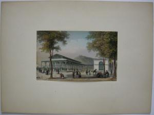 Kissingen Brunnen Pavillon altkolor Stahlstich Wegelin 1840 Jügel Unterfranken