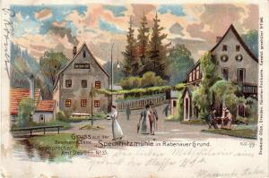 AK Spechtritzmühle Rabenauer Grund Erzgebirge Sachsen  gel 1907 Litho Deuben
