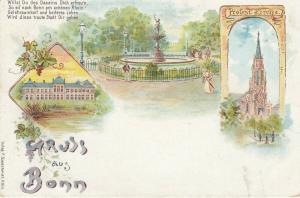 AK Bonn Protestantische Kirche Brunnen Schloss Litho um 1900