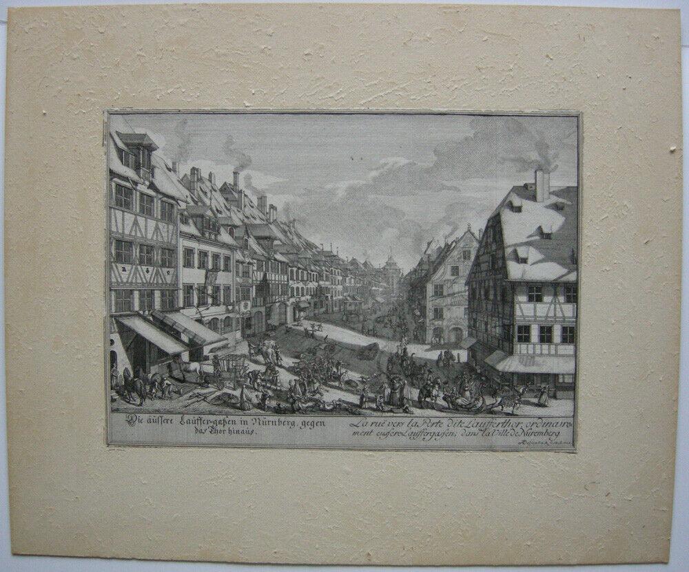 J A Delsenbach Äußere Laufer Gasse Nürnberg Orig Kupferstich 1755 Mittelfranken Nr. 274072596803