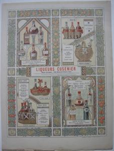 Liqueurs Cusenier Paris Publicité Reklame Liköre Paris 1893 Farblithografie