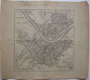 Barrikaden-Plan von Dresden Demokratie-Bewegung 1849 Orig. Stahlstich 1850