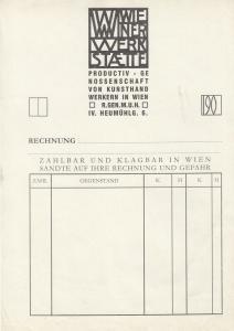Wiener Werkstätte Rechnungsformular Klischeedruck um 1905