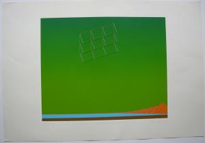 Hans-J. Kleinhammes (1937-2002) Metaphysische Landschaft Orig Serigr sign 1972