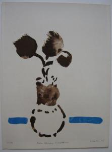 Oskar Koller Blumenbouquet Orig Farblithographie signiert 1977 aquarelliert
