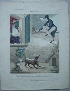 Karikatur Wien Unglück glücklicher Liebhaber Biedermeier Ori Farbradierung 1850