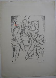 Lazzaro Donati (1926-1977) Reiterschlacht II Orig. Lithografie 1969 signiert