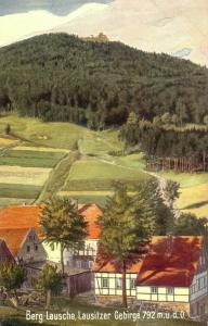 AK Berg Lausche Lausitzer Gebirge Wiedemann's Künstlerkarte Sachsen gel 1911