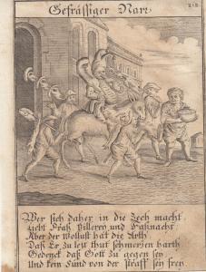 Gefräßiger Narr Fress-Sucht Orig Kupferstich Abraham a Sancta Clara 1709