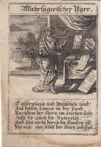 Wahrsagerischer Narr Prophetie Orig Kupferstich Abraham a Sancta Clara 1709