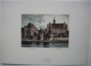 Ordensburg Marienburg Malbork Polen Orig Farbradierung  signiert 1920