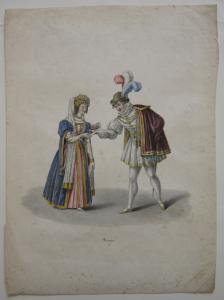Kürzinger Quadrilles parées costumées France Wittelsbacher Orig Lithografie 1835