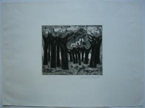 Hanno Edelmann Bäume am See Orig Aquatinta 1975 signiert