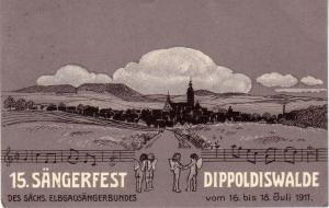 AK  Sängerfest Dippoldiswalde Sächsische Schweiz-Osterzgebirge Sachsen gel 1911