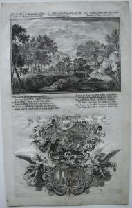 Johann U. Krauss (1655-1719) König Histius Abgötter Bibel Orig Kupferstich 1698