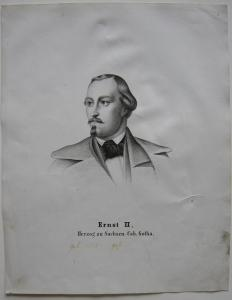 Ernst II. (1791-1864) Herzog Sachsen -Coburg Komponist Orig. Lithografie 1850
