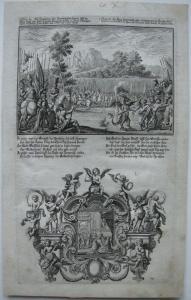Johann U. Krauss (1655-1719) Anreitzung des Satans Bibel Orig Kupferstich 1698